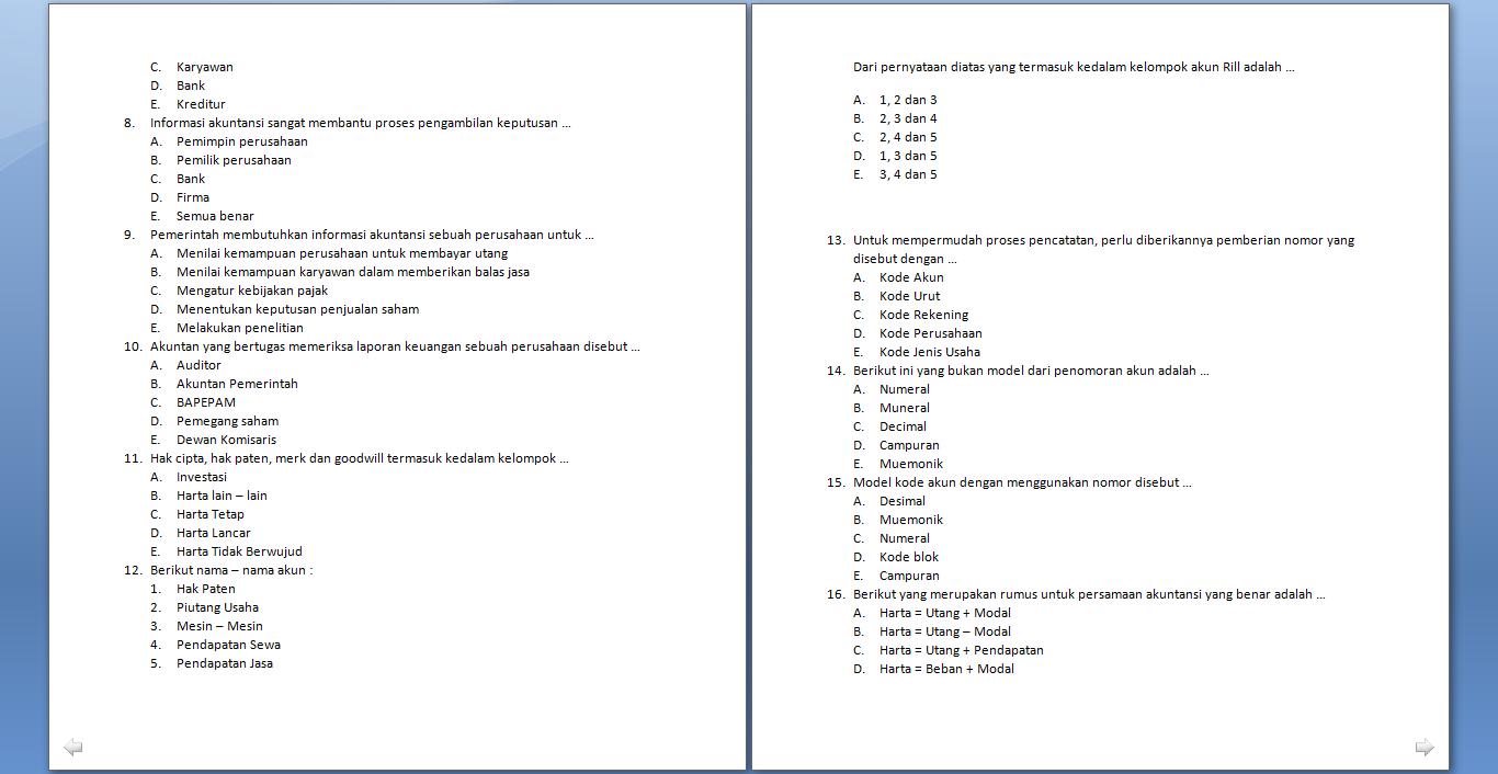 Soal Ujian Akuntansi Paket C Juni 2014 My World